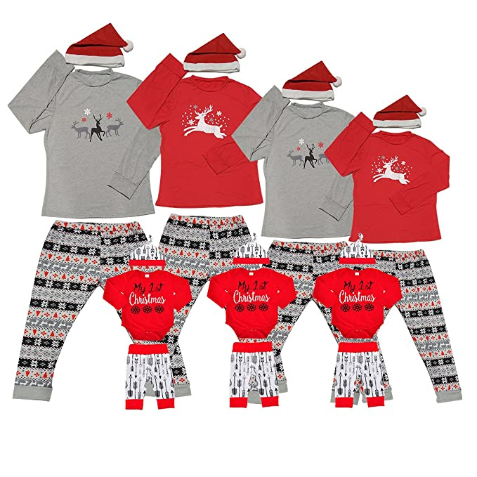 bdd0502a57 Matching Christmas Pjs for Family Xmas Thanksgiving Pajamas Sets Jammies  for Women Kids Boys Couples Holiday Newborn Baby Moose Onesies Cute Pj Girl  Striped ...