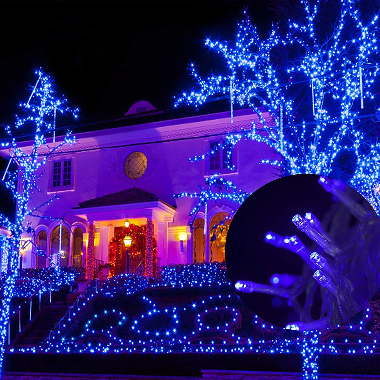 Blue WATERGLIDE 300 LED Indoor Fairy String Lights 98.5FT 8 Lighting Mode Plug in String Waterproof Mini Light for Outdoor Birthday Holiday Christmas Wedding Party Bedroom Decorations
