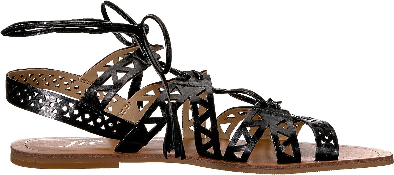 The Fix Womens Farrell Triangle-Cutout Square Toe Flat Dress Sandal 8.5 B US Black Brand
