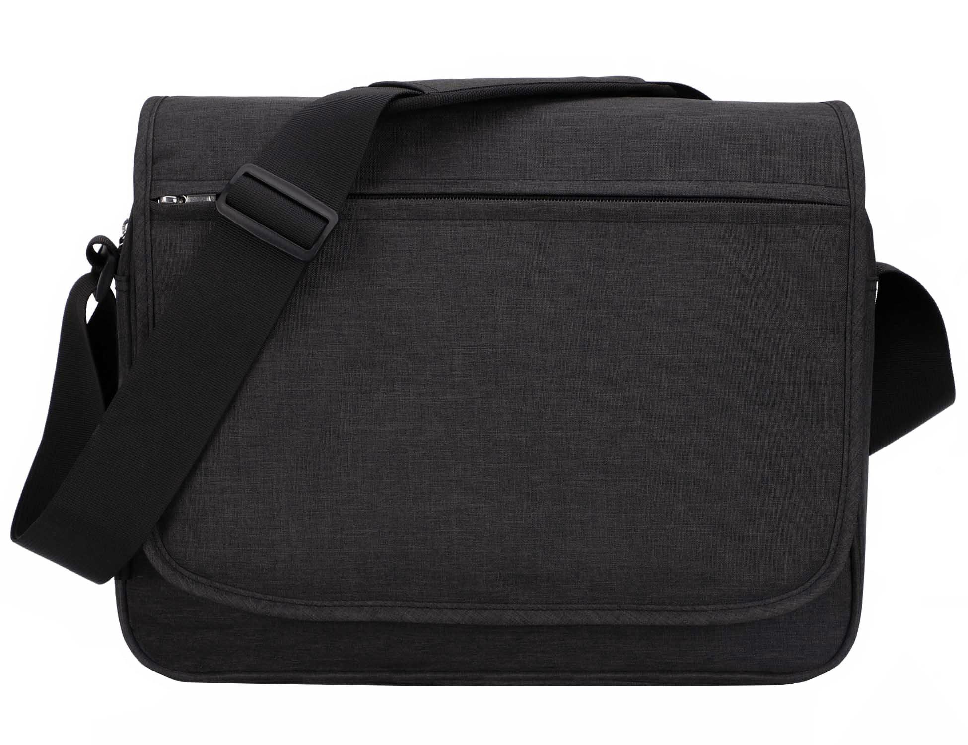 MIER Unisex Laptop Messenger Bag For 15.6'' Computer Shoulder Crossbody Bag for Work and School, Multiple Pocket, Update Black