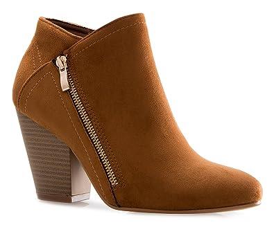 Women's Metallic Gold Zip Stacked Block Heel Ankle Booties