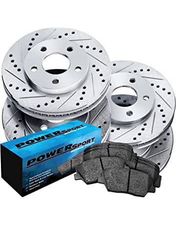 Fit 2004-2008 Acura TL Front Rear PSport Drill Slot Brake Rotors+Ceramic Pads