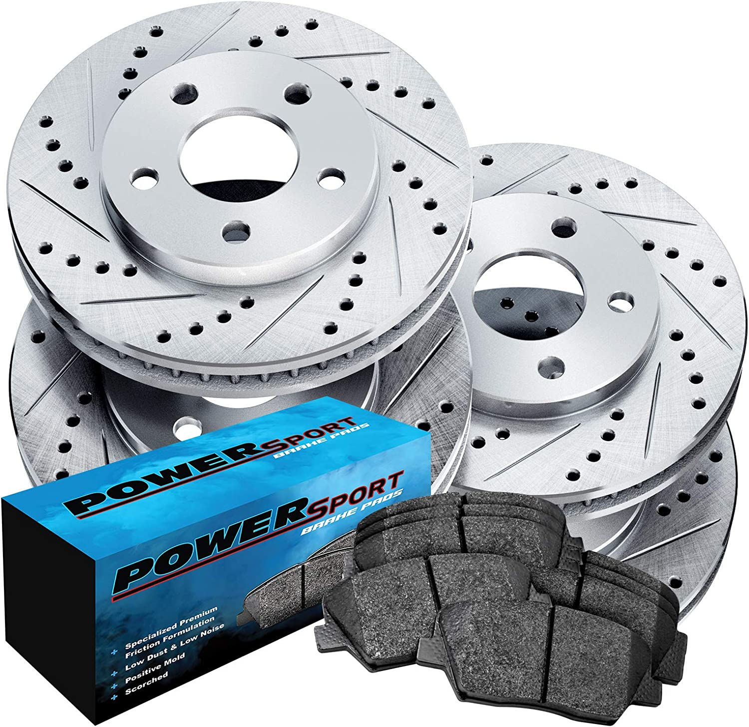 Front /& Rear Drill Slot Brake Rotors And 8 Ceramic Pads For Chevy GMC Olds