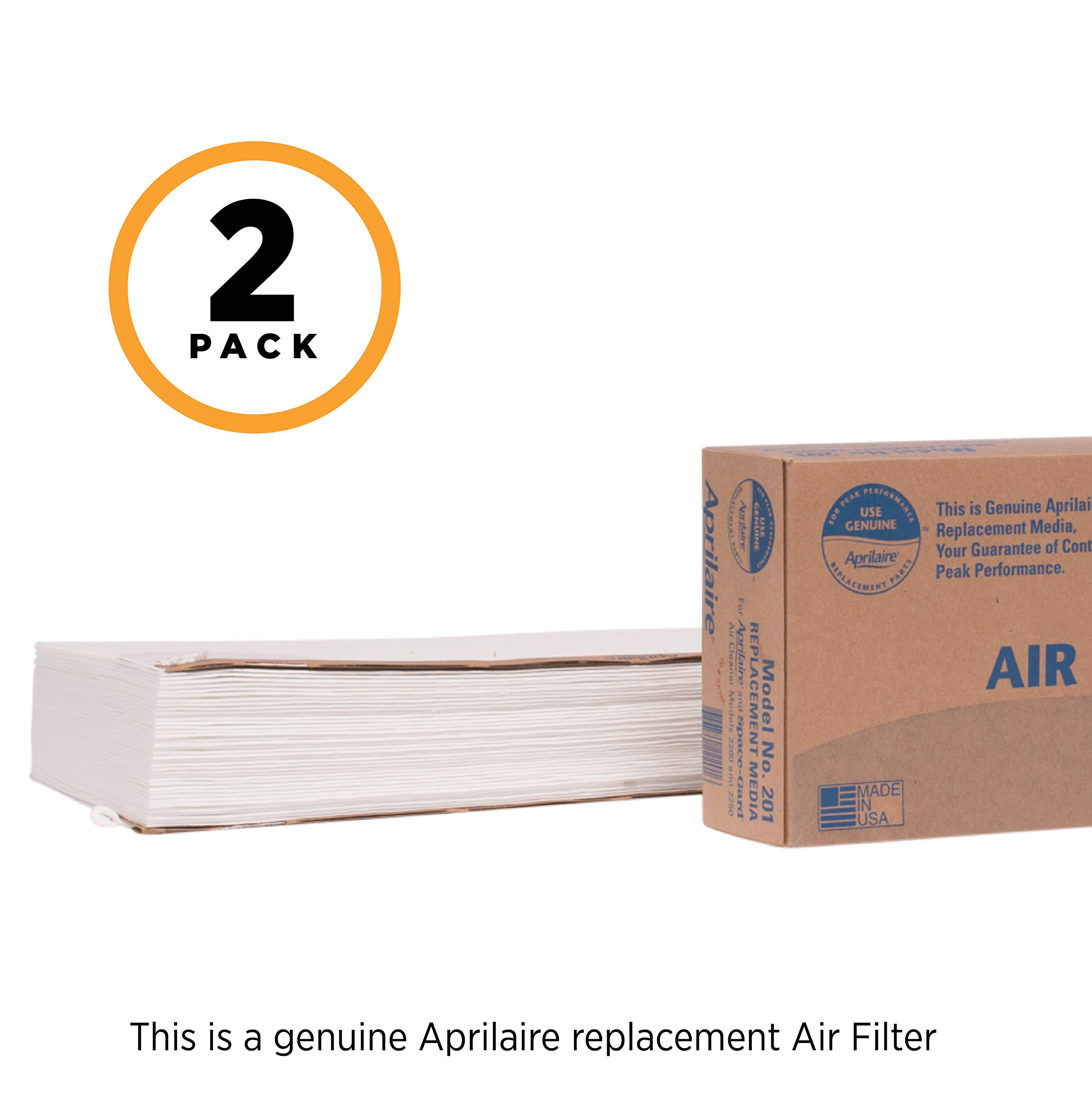 Aprilaire 201 Replacement Filter for Aprilaire Whole House Air Purifier Models: 2200, 2250, Space Gard 2200, MERV 10 (Pack of 2) by Aprilaire