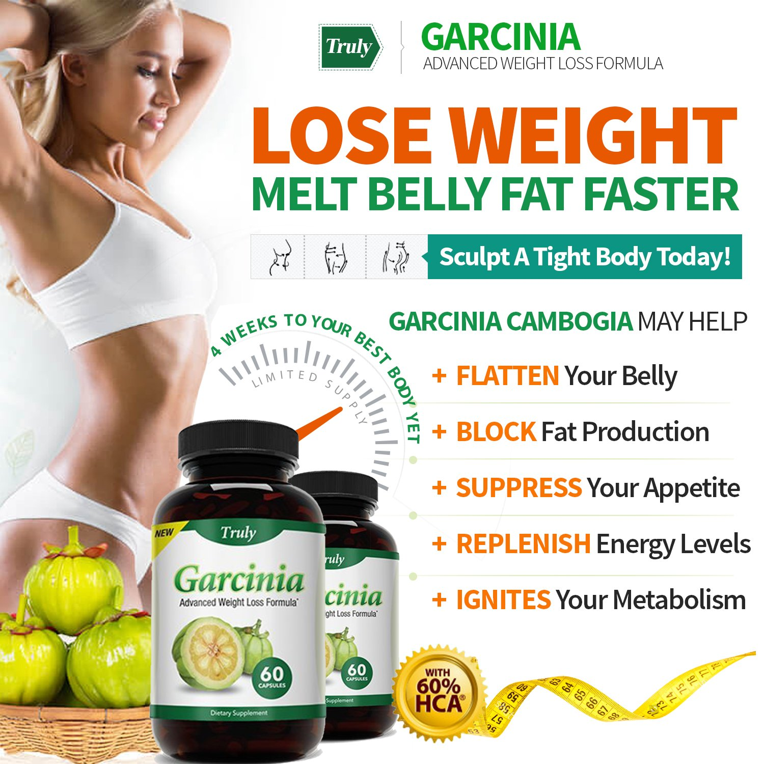 Truly Garcinia- Garcinia Cambogia- Ultra Premium Weight Management Formula-Natural And Potent Weight Loss Pills For Men And Women – Burn Belly Fat – Metabolism Booster – Powerful Antioxidant by Truly (Image #3)