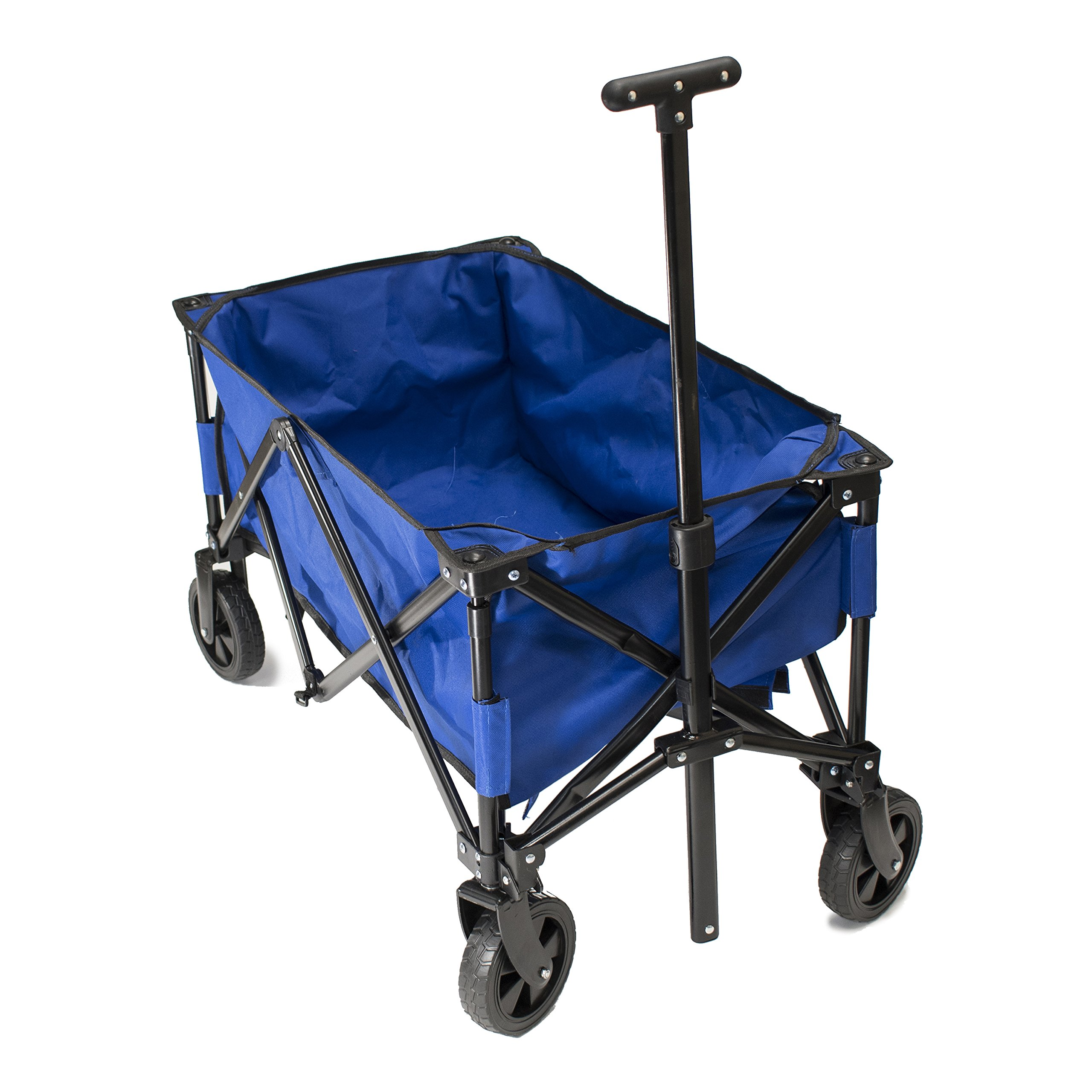ALEKO TC1014 Multipurpose Folding Utility Wagon with Adjustable Retractable Handle 35 x 20 x 23 Inches Blue with Black Frame