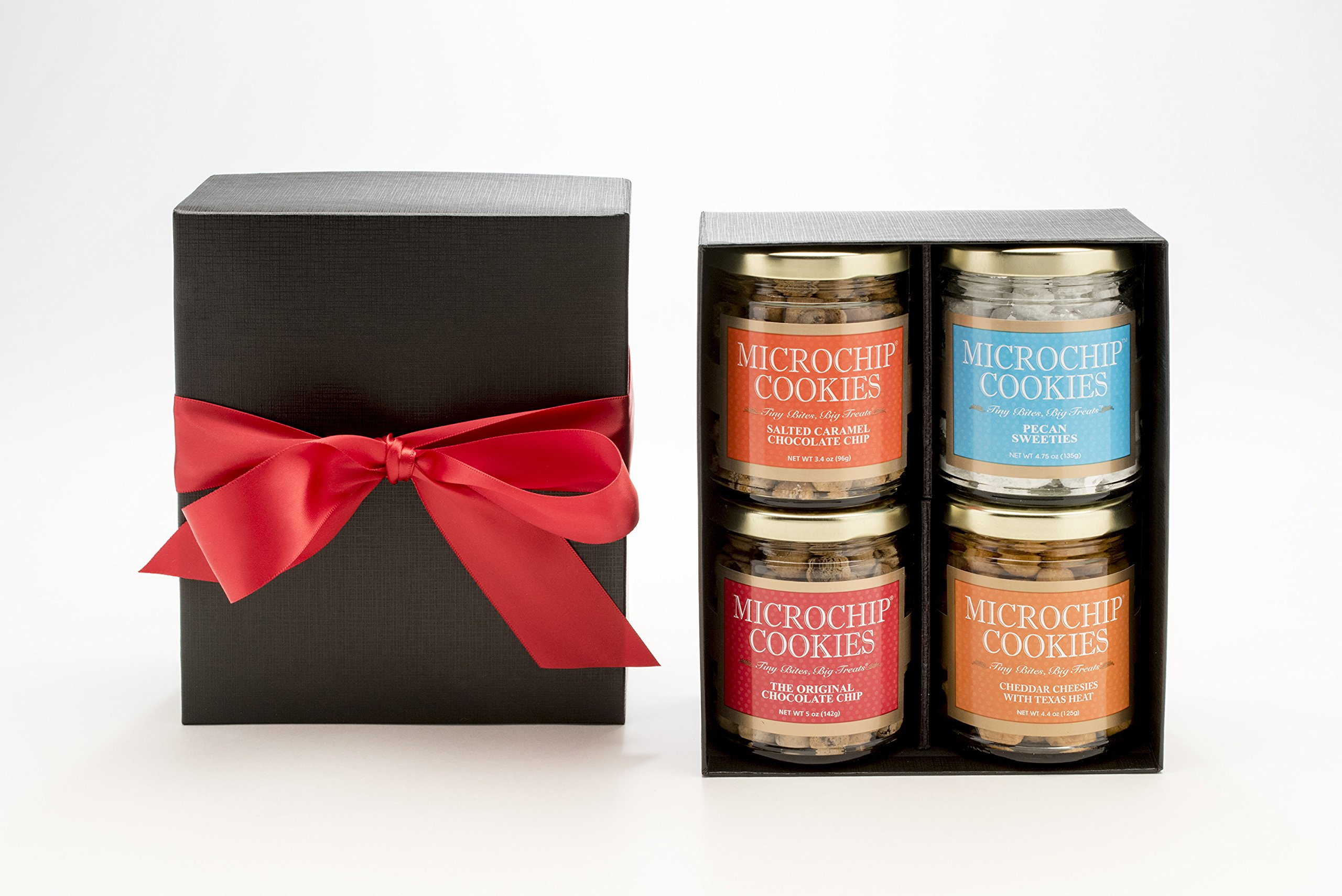 World's Tiniest, Most Irresistible Microchip Cookies - A Four Square Favorite - Four Jar Gift Box - Be The Party Favorite & Give The Gift Of Gourmet Microchips -Small Batch Handmade In Texas