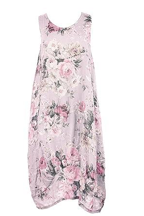 b3caaafdc1 TEXTURE Ladies Womens Italian Lagenlook Floral Print Sleeveless 2 Pocket  Linen Tulip Midi Dress One Size (Light Pink