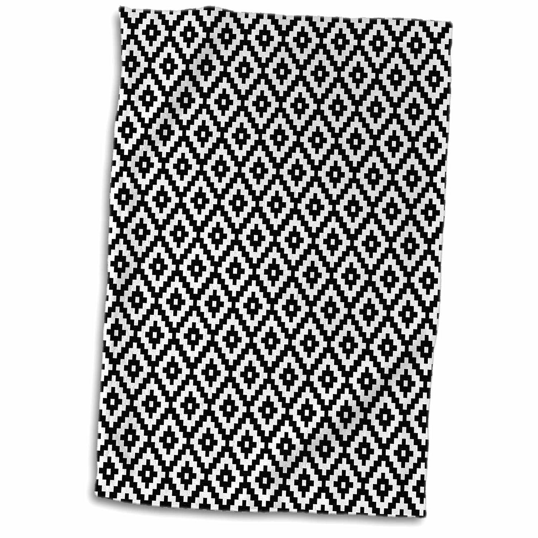 "3dRose Black and White Aztec Pattern Towel, 15"" x 22"""