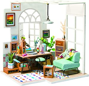 RoWood DIY Miniature Dollhouse Kit, Wooden Mini House Set with Furniture and Accessories - SOHO Time
