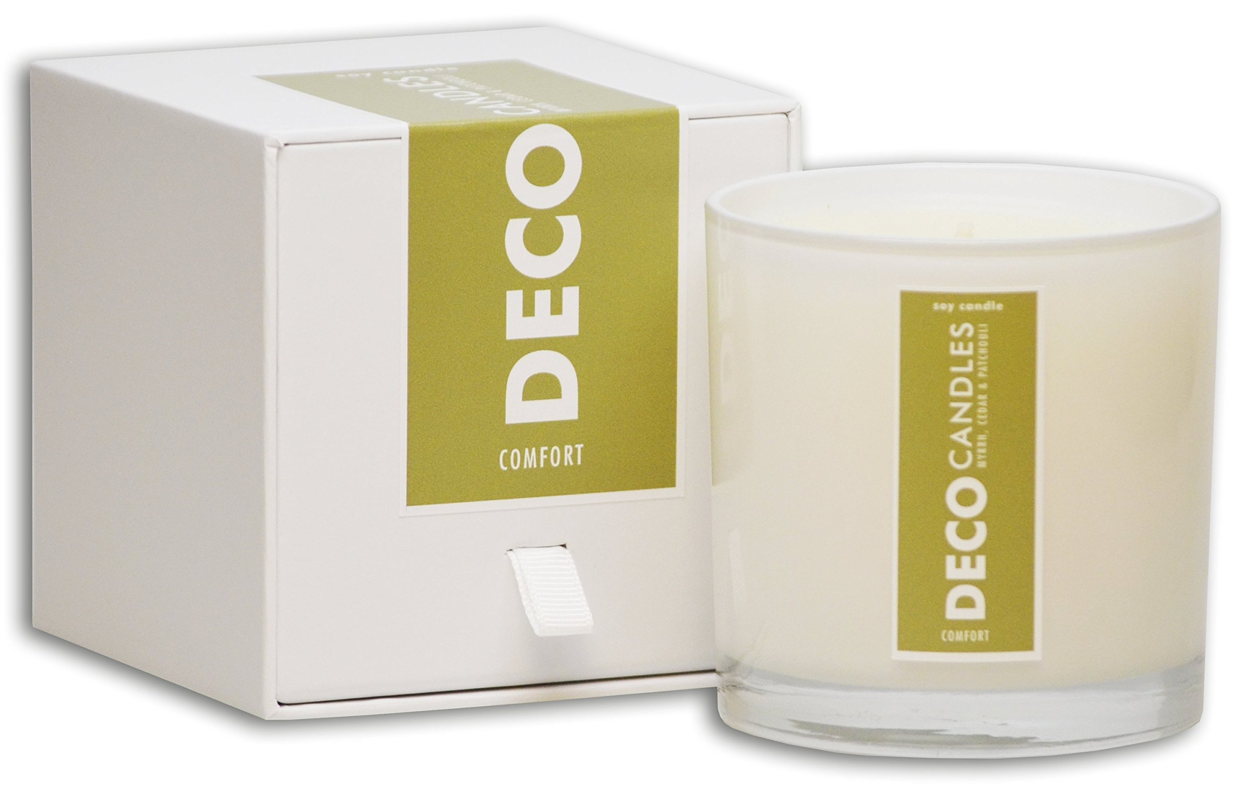 DecoCandleS | Comfort - Honeyed Myrrh & Patchouli - Highly Scented Candle - Long Lasting - Hand poured in the USA - Hotel Inspired Collection - 9 Oz.