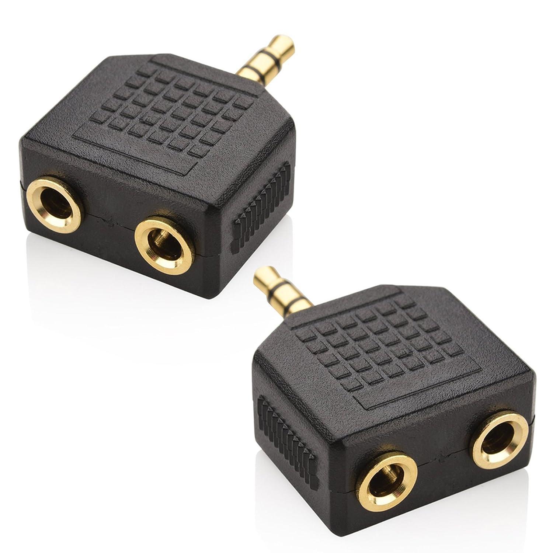 Mobi Lock Adattatore Auricolare - Audio Stereo - Splitter Y da 3.5 mm per iPhone, iPad, iPod, Android, Tablet, Laptop e Altri Dispositivi Audio (Confezione da 2) Lock Sourcing Limited MOL-AUD-ADA-3.5MM-SPLI-2POR-xx2