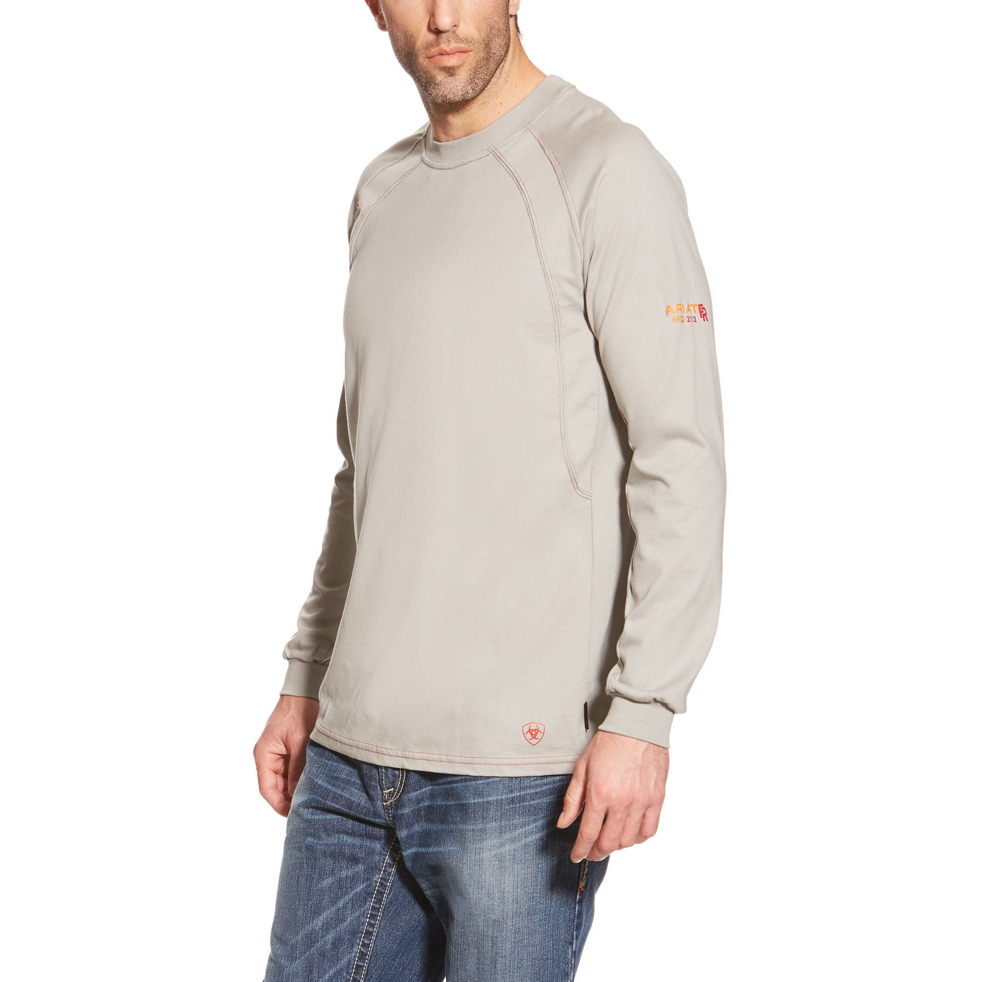Ariat Men's Flame Resistant Long Sleeve Work Crew, Silver Fox, Large