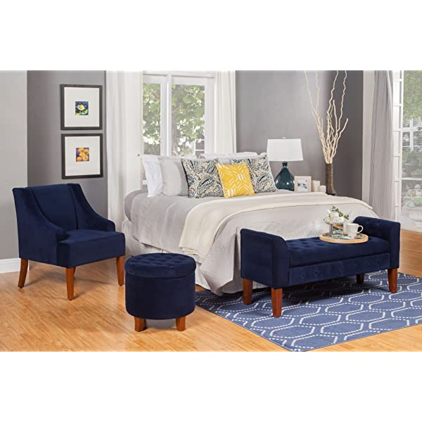 HomePopVelvet Swoop Arm Accent Chair, Medium, Navy