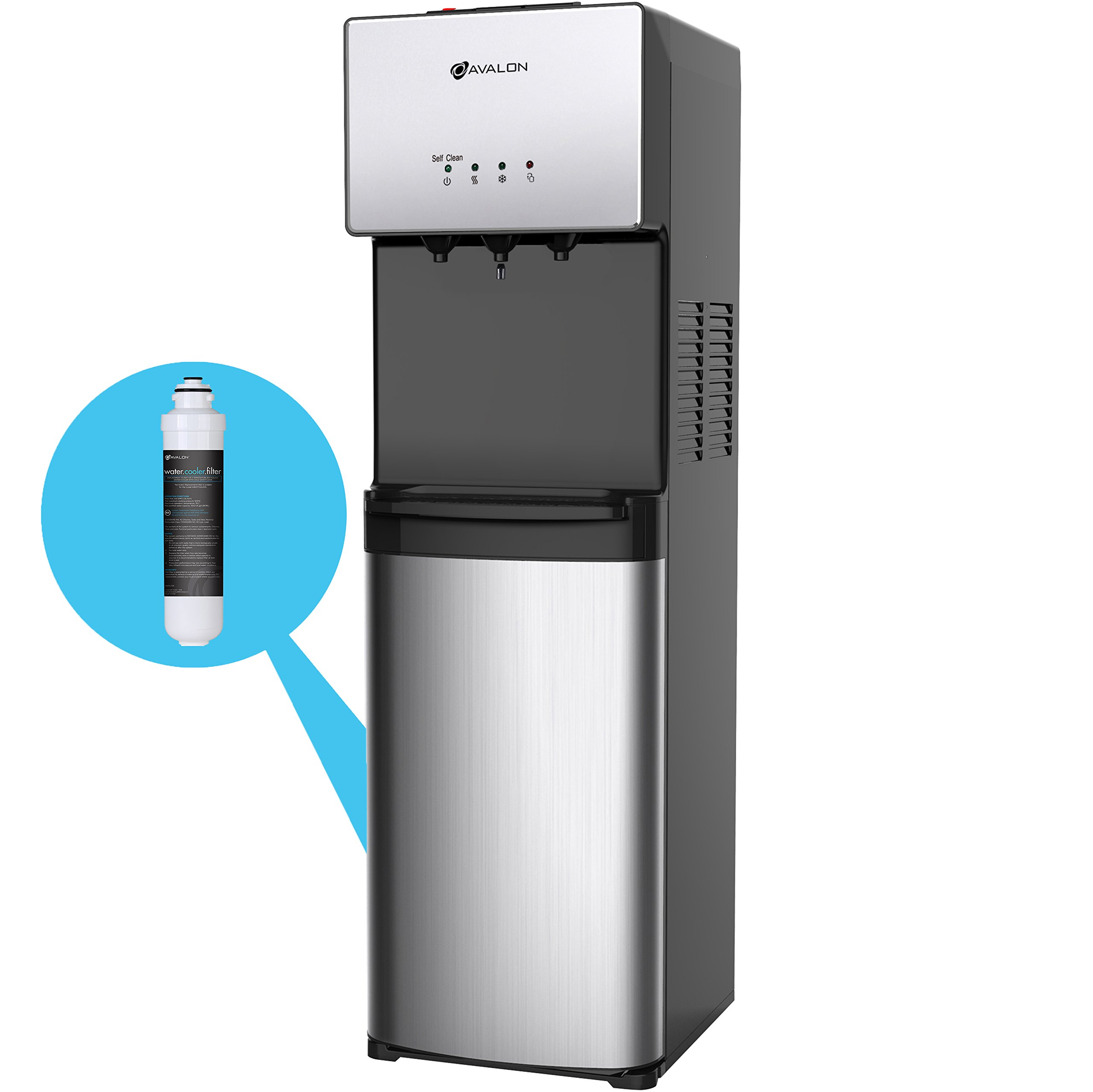 Avalon Commercial Grade Self Cleaning Bottleless Water Cooler Dispenser-3 Temperature Settings Hot, Cold & Room Water, Durable Stainless Steel Construction, - UL/Energy Star Approved