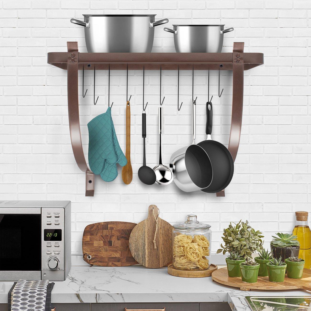 Amazon.com: Sorbus Kitchen Wall Pot Rack with Hooks - Decorative ...