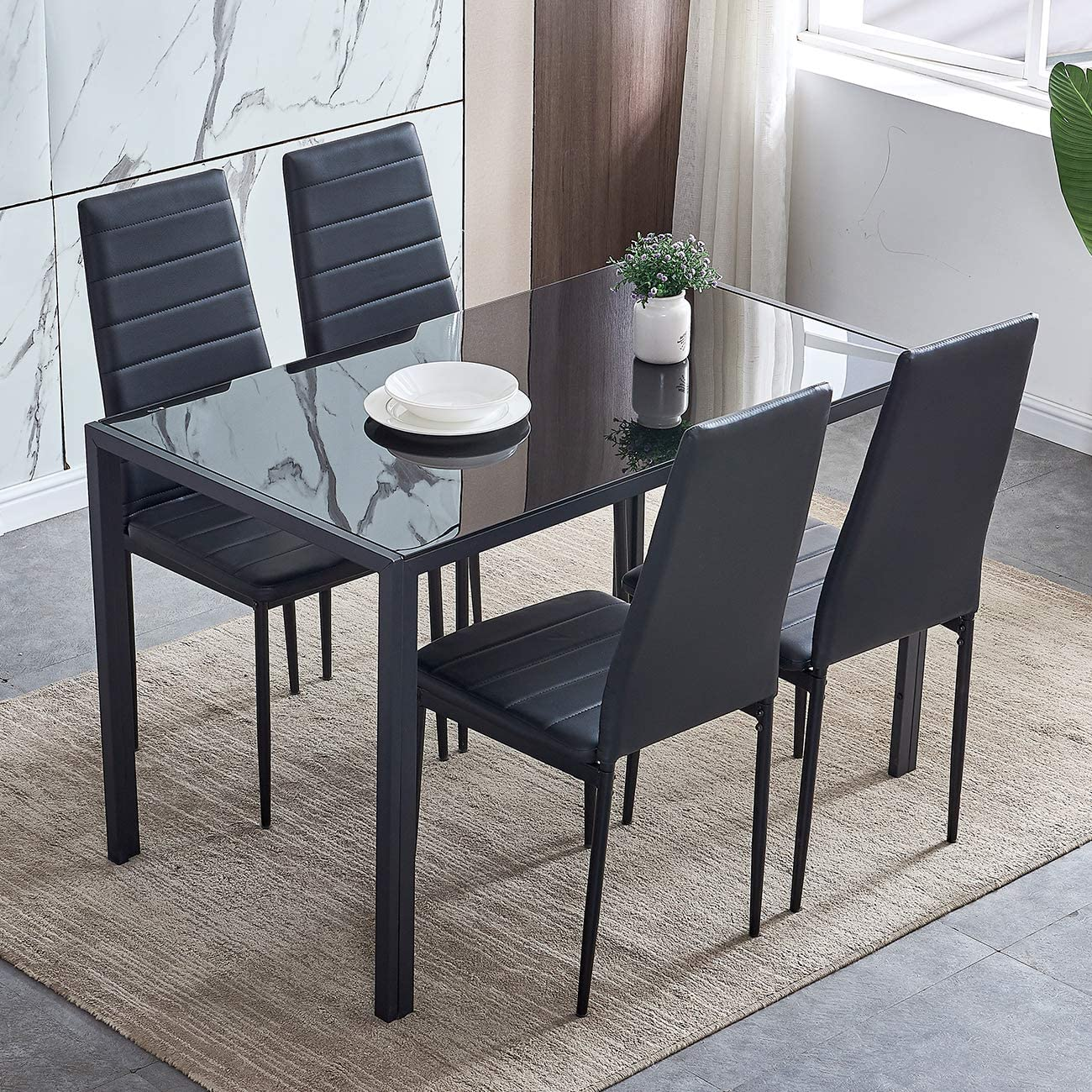 BOJU Glass Dining Table and Chairs Black Set of 4 Faux Leather Kitchen  Furniture 4 Chairs High Back Glass Tabletop Metal Frame Table (4 Table 4