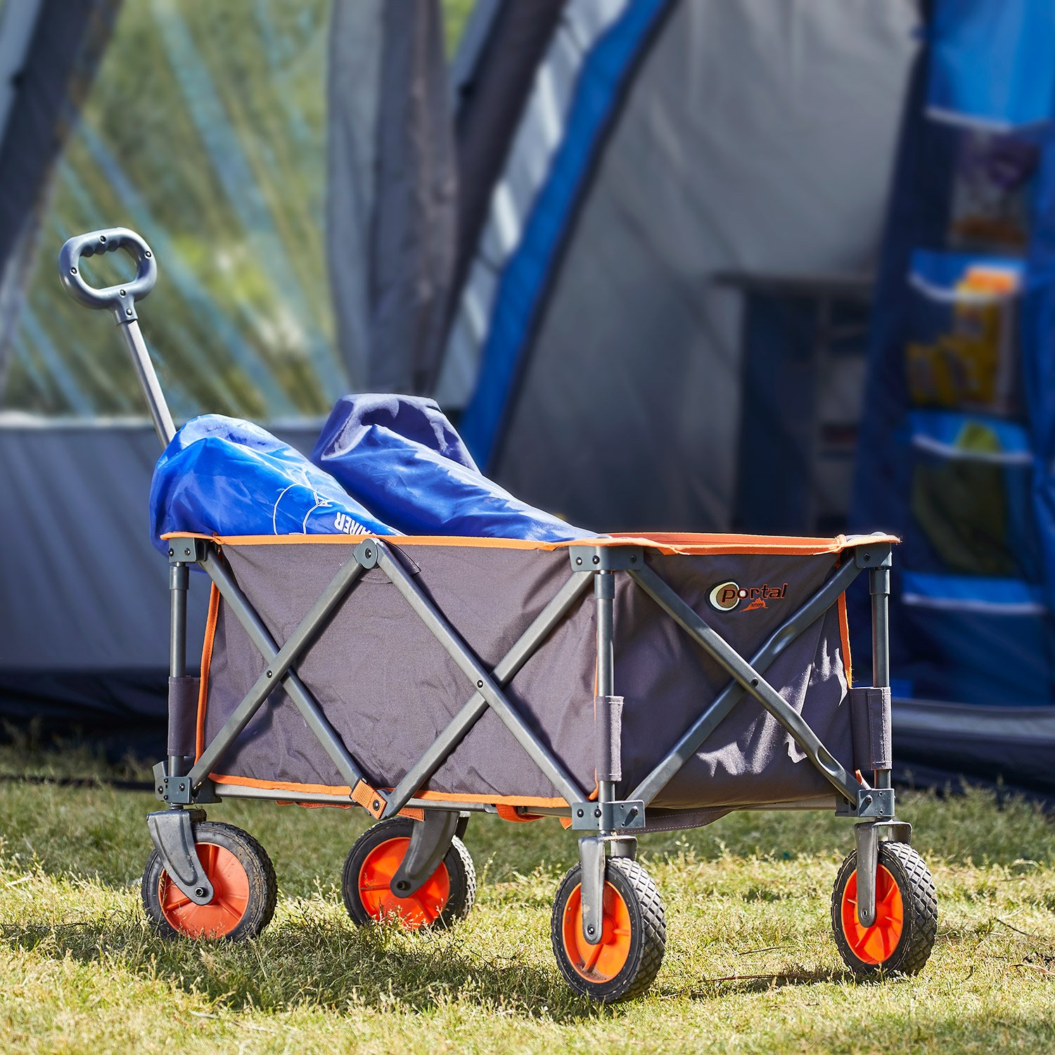 Image of Portal Outdoor Alf Folding Wagon in front of tent.