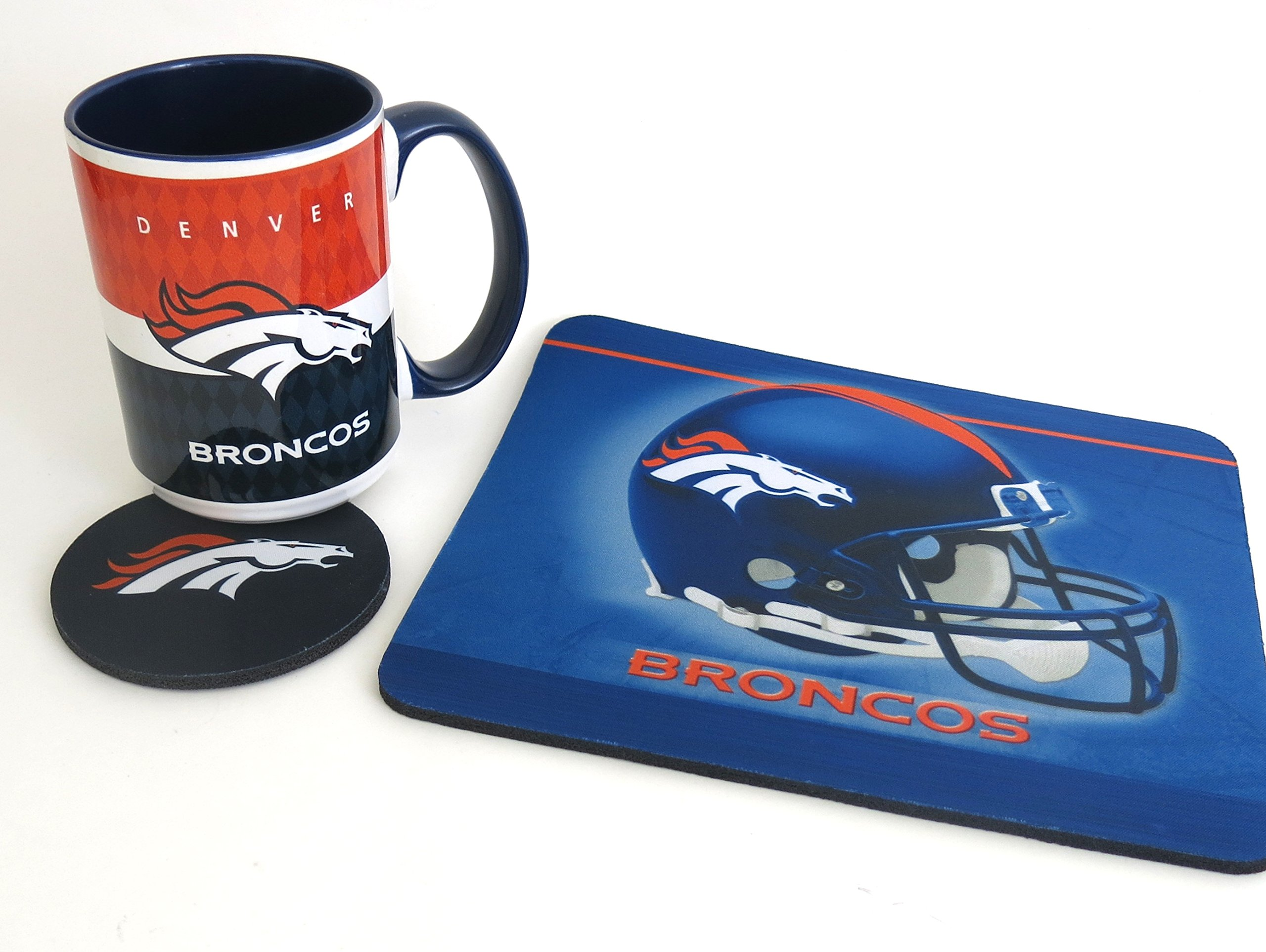 Denver Broncos computer workstation set. 3 piece set includes a large coffee mug, Mouse pad and Coaster