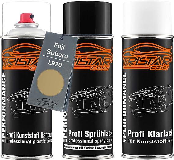 Tristarcolor Autolack Spraydosen Set Für Kunststoff Stoßstange Für Fuji Subaru L920 Enkei Gold Metallic Haftgrund Basislack Klarlack Mit Weichmacher Sprühdose Auto