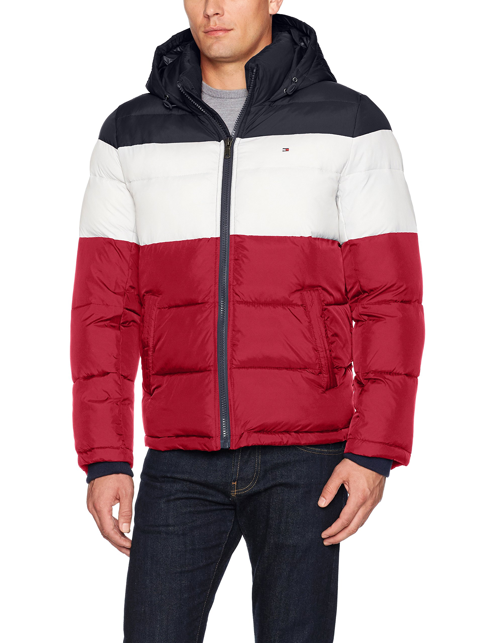 Tommy Hilfiger Men's Classic Hooded Puffer Jacket, Midnight/White/Red, Small