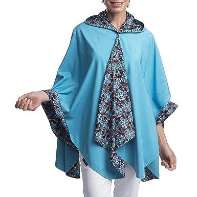 2bf3ef208df83 RainCaper Rain Poncho for Women - Reversible Rainproof Hooded Cape in  Gorgeous Ultrasoft Colors (Aqua