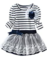 Yo Coco Girls Cute Long Sleeve Striped Flower Lace Princess Dresses Skirts