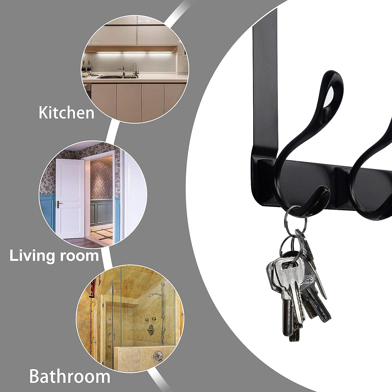 5 Hooks Over Door Coats Hook SKOLOO Over The Door Hook Coat Rack Assembly Door Coat Hook White Stainless Steel Door Hanger Hook for Hanging Clothes Towels,Robes