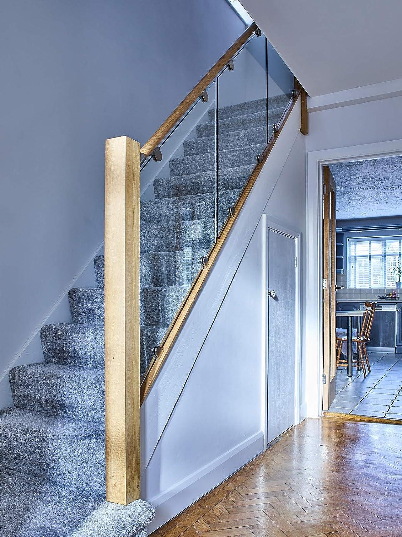 Pasamanos de roble y cristal balaustrada de escalera ((45 grados): Amazon.es: Bricolaje y herramientas