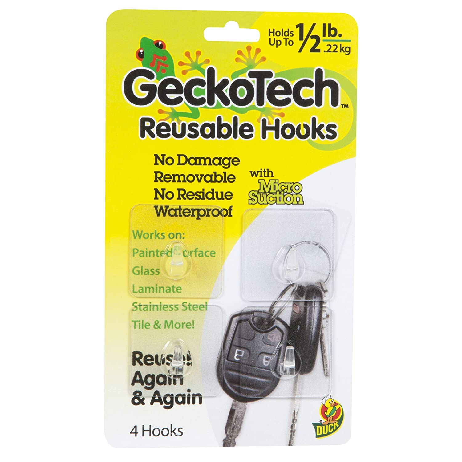 5-Pound GeckoTech 282314 Removable 1-Pack Reusable Hook with Microsuction Technology