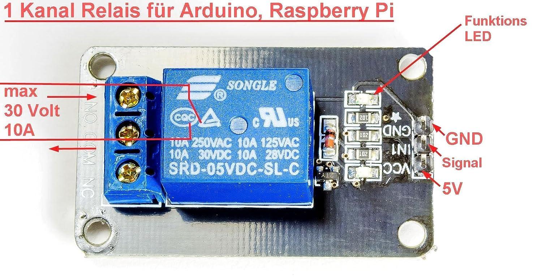 1-Kanal Relais Relay Modul 5V für Arduino: Amazon.de: Computer & Zubehör