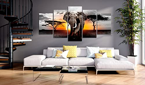 Extra Large African Landscape Canvas Wall Art Elephant Painting Modern Wild Animal Print Artwork
