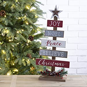 Glitzhome 20 Inch Wooden Christmas Tree Table Decor Farmhouse Christmas Tree with Berries Holiday Decoration with Metal Star Joy Noel Peace Believe Christmas Tabletop Tree Shape Centerpiece