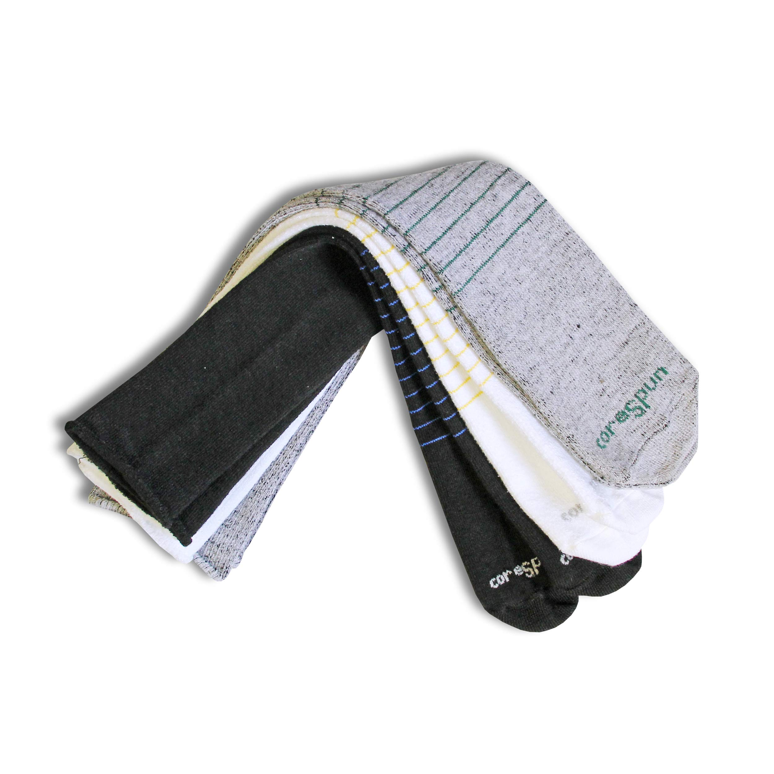 Core-Spun Patterned Child AFO Socks by SmartKnit®- Halos 3 Pack - White/Grey/Black - Child X-Long by Core-spun