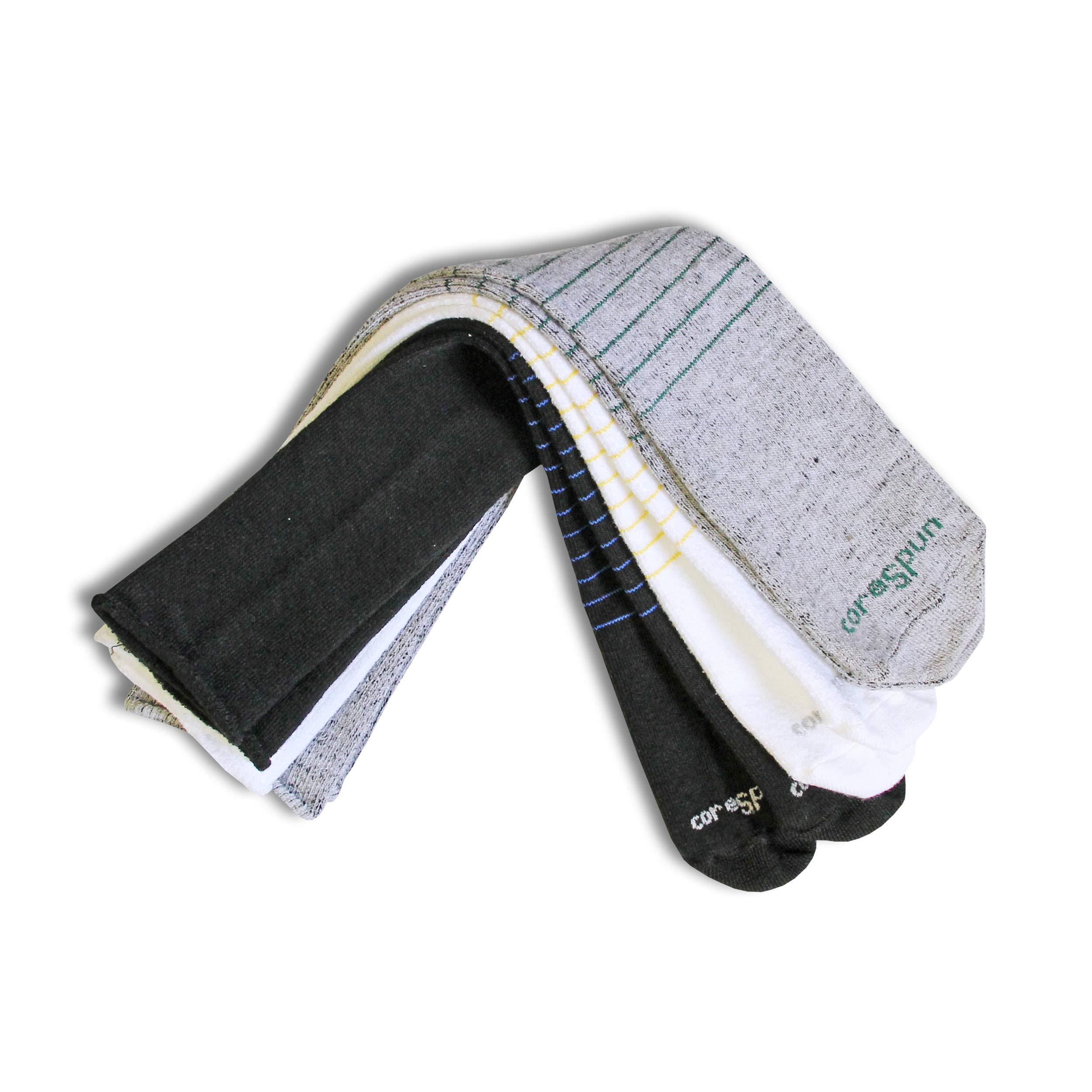 Core-Spun Patterned Seamless AFO Interface Socks for Kids (3-Pack) - Black White & Grey Stripes, Regular