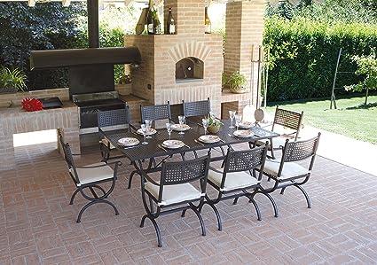 PEGANE Ensemble de Jardin Table rectangulaire + 8 chaises en ...