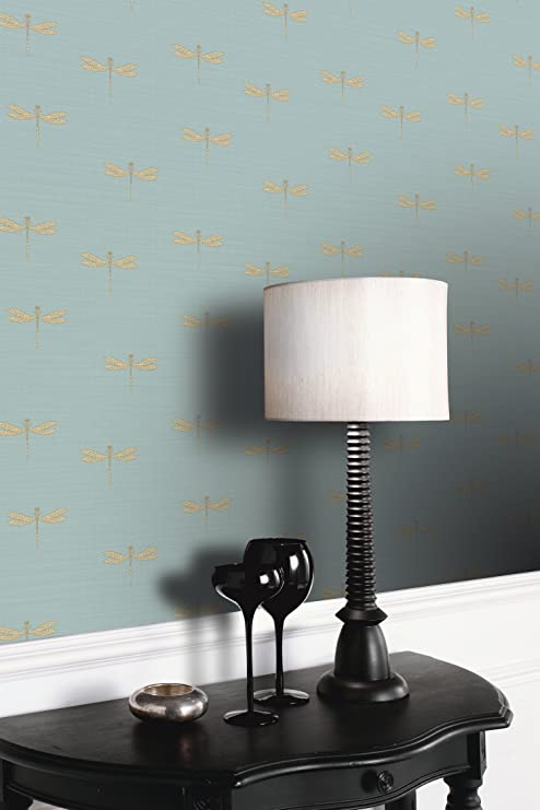 Black and Copper Dragonfly Feature Wall Wallpaper Crown Wallcoverings 10 m FD40875