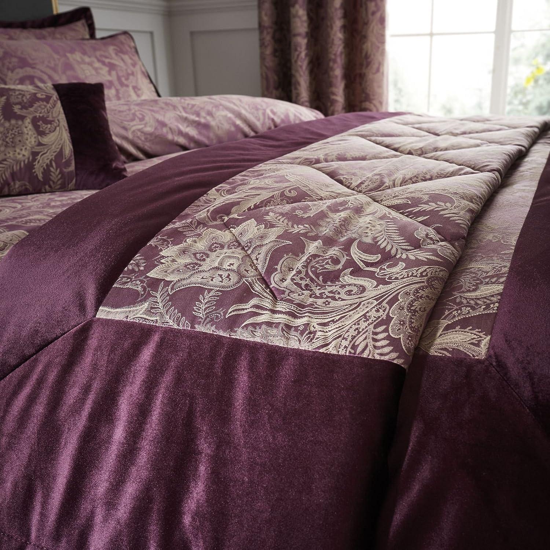 Catherine Lansfield Regal Jacquard Bedspread Plum, 240x260cm Turner Bianca BD/49952/W/24026/PLU