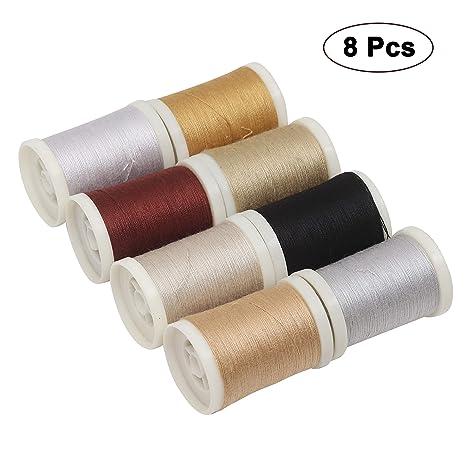 Curtzy 8 Pcs Hilo de poliester - Hilos de coser- Colores surtidos Hilos de bordado