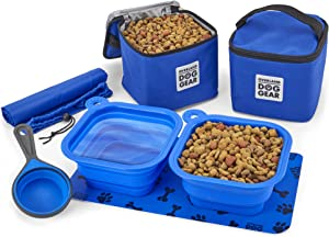 Mobile Dog Gear, Dine Away Dog Travel Bag for Medium and Large Dogs, Includes Lined Food Carriers and 2 Collapsible Dog Bowl, Collapsible Scooper and Placemat, Royal Blue