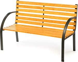 Gardenised Classical Wooden Outdoor Park Patio Garden Yard Bench with Steel Frame, Black