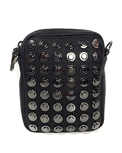 82227ed6bd Zara Women Studded black grainy mini crossbody bag 3608/005: Handbags:  Amazon.com