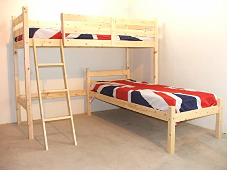 L SHAPED 3ft Bunkbed With TWO Sprung Mattresses Wooden