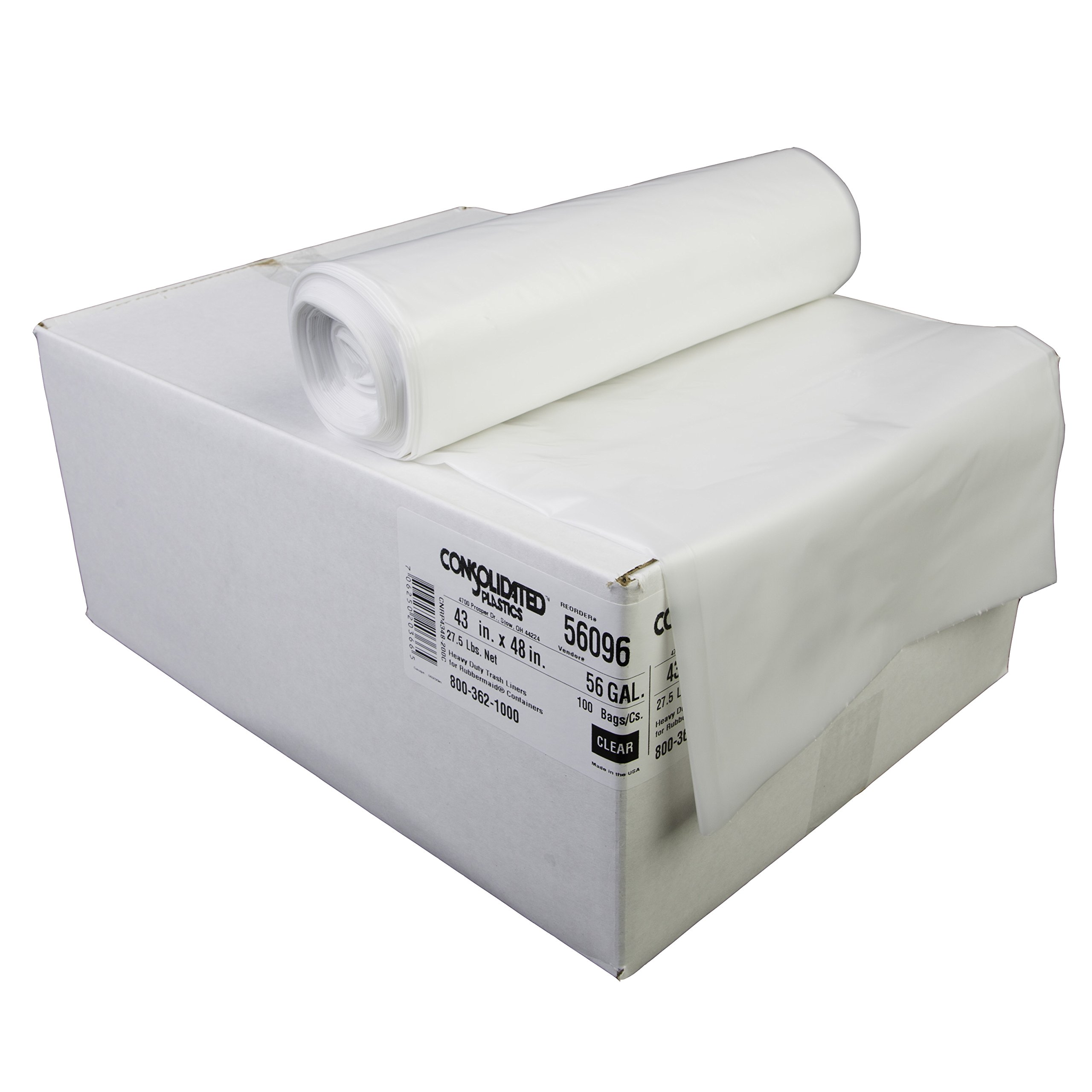 Consolidated Plastics 56 Gallon Heavy Duty Trash Liners, 43'' x 48'', Clear (Case of 100)