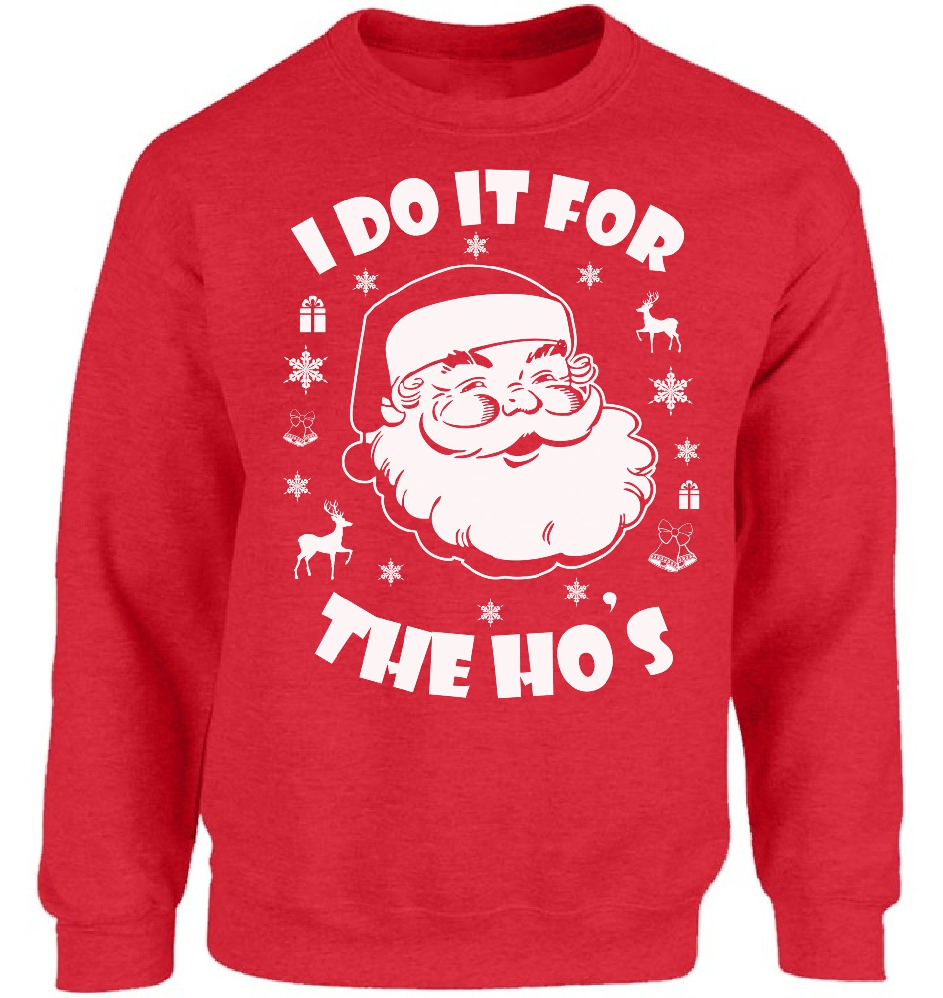 Vizor I Do It for The Hos Sweatshirt I Do It for The Hos Sweater Ugly Christmas Sweatshirt Funny Santa Sweaters Xmas Gifts Red 3XL