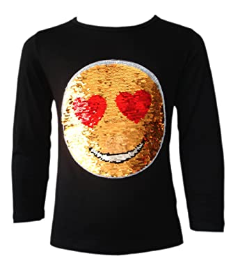 f2ce644af6111 Kids Emoji Emoticon Smiley FACE Tops TEE TOP Brush Changing Sequin New Age 3 -14  Amazon.co.uk  Clothing