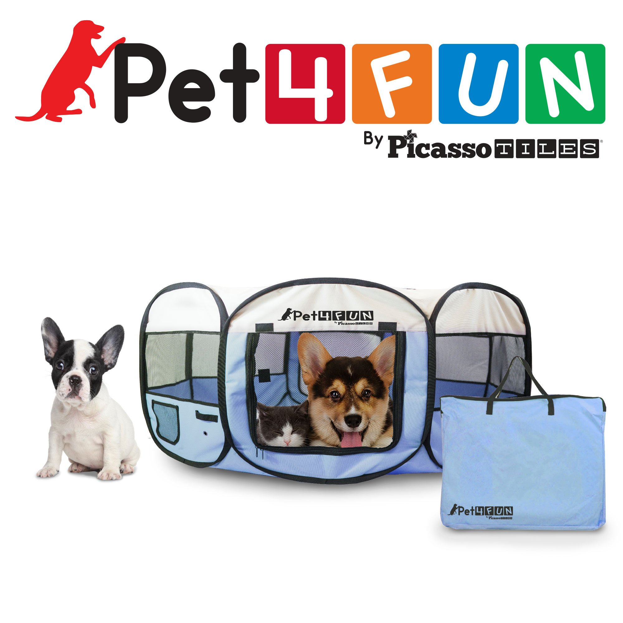 PET4FUN PN935 35'' Portable Pet Puppy Dog Cat Animal Playpen Yard Crates Kennel w/ Premium 600D Oxford Cloth, Tool-Free Setup, Carry Bag, Removable Security Mesh Cover/Shade, 2 Storage Pockets(Blue)