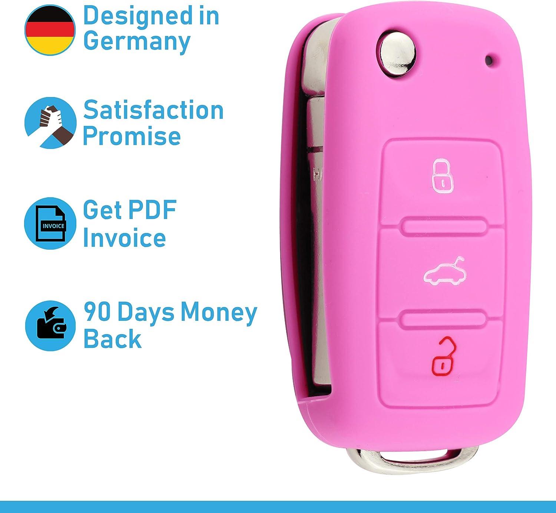 Bleu Vif Couvercle de Protection pour cl/és de Voiture Couvercle pour Type de cl/é 3BKB-b ASARAH Couvercle de cl/é en Silicone Premium Compatible avec VW