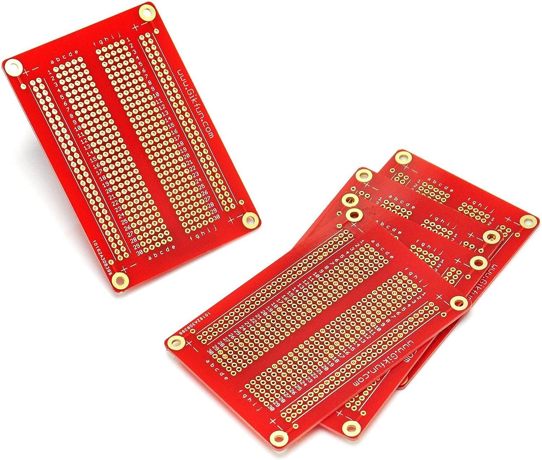 Finition plaqu/ée or 5 platines dexp/érimentation Gikfun GK1007U Soudables Platines de prototypage Kit pour Arduino