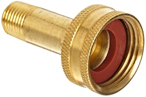"Anderson Metals Brass Garden Hose Fitting, Swivel, 3/4"" Female Hose ID x 1/4"" Male Pipe"